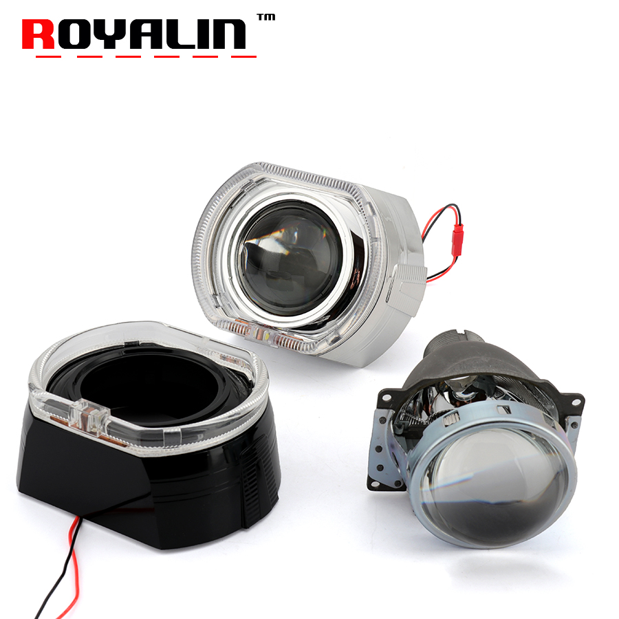 ROYALIN 3.0 Q5 Bi Xenon Projector Lens for H4 Cars Daytime Running Light for BMW X5 F30 F10 E92 E91 E93 Square Eagle Angel Eyes royalin car styling metal h1 projector lens 3 0 inch bi xenon headlight lens for bmw angel eyes square demon eyes white red blue