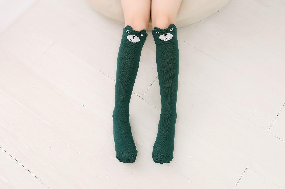2017 Nowa Wiosna Jesień Dzieci Skarpetki Bawełniane Drukowanie 3D Kot Moda Cartoon Niedźwiedź Taniec Skarpetki Maluchy Dziewczynek Knee Socks 7