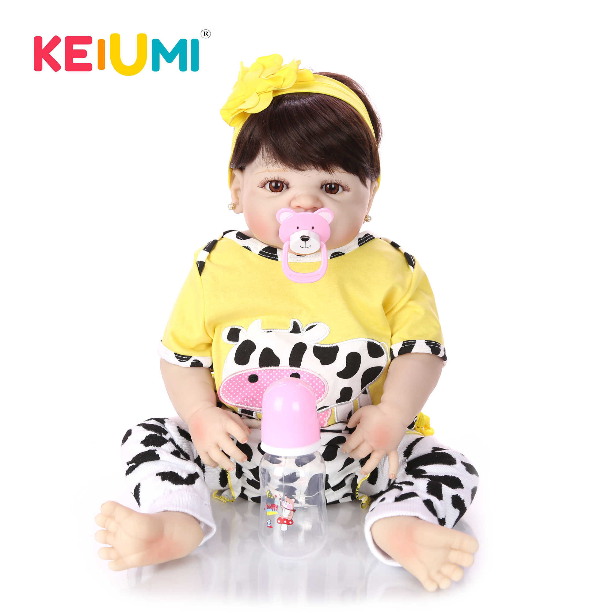 Collectible 23'' 57 cm Reborn Baby Dolls Full Vinyl Body So Truly Like Girl Alive Doll In Brazil Toddler bebe Toy Birthday Gifts