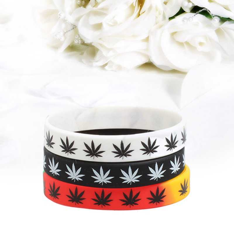 1pc Leaves Fashion Leaf Print Weed Silicone Bracelet&Bangles 3 colors Black White Color Wristband Fashion Jewelry Bracelet