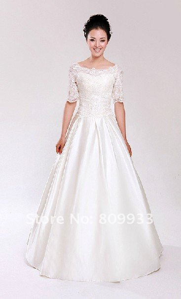 2012 newest boutique lace simple Qi wedding dress with sleeves of ...