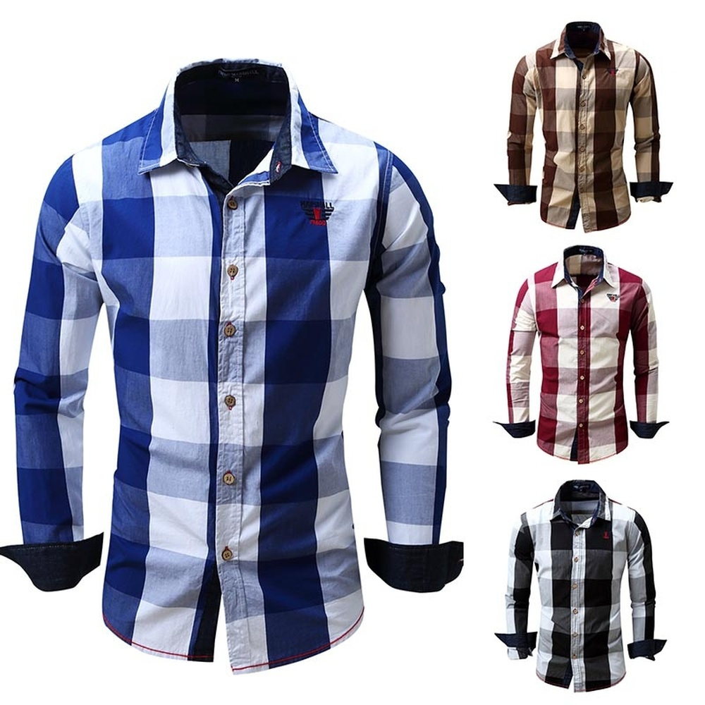 ZOGAA Men's Casual Yarn Dyed Plaid Cowboy Shirt Formal Thin Business Masculina Shirts Long Sleeve Classic Camisa Chemise Homme