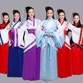 Mulher trajes de dança tradicional chinesa mulheres trajes de dança fairy dress chinês hanfu de manga mulheres crianças para crianças fan