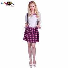 Eraspooky women costume dress 20 s school girl cosplay dress plaid anime  2018 short sleeve Halloween costumes for adult ef8a37f534a4