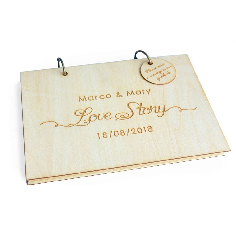 Custom Wedding Guest Book Engraved Wooden Sign With Name