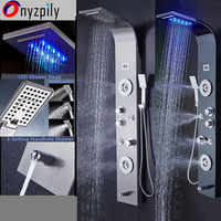 Bathroom LED Shower Panel Tower System LED Rainfall Waterfall Shower Jets massage body jets hand shwoer tub spout