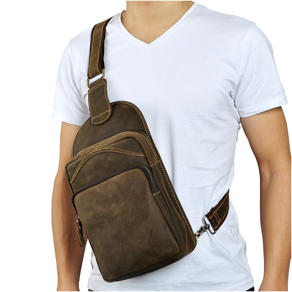 Quality Leather Men Casual Fashion Travel Daypack Chest Sling Bag Design One Shoulder Strap Crossbody Bag Male 9977