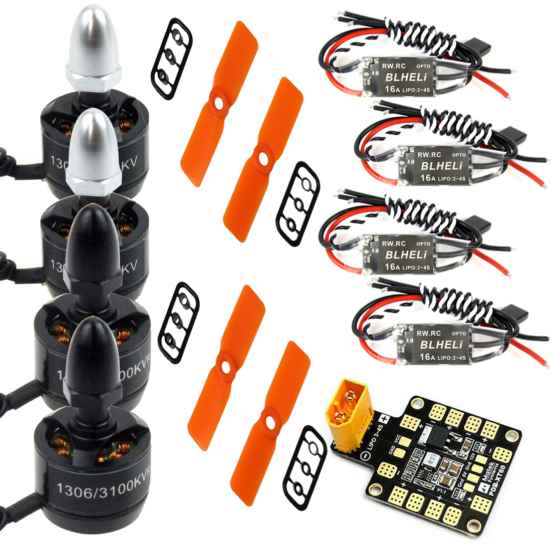 цена Combo Kit for Mini 130 150 180 210 Drone 1306 3100KV Brushless Motor Mini BLHeli OPTO 16A ESC + 3030 ABS Propellers CW CCW в интернет-магазинах