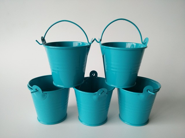 100pcs lot wholesale blue pails for party candy box mini for Tiny metal buckets