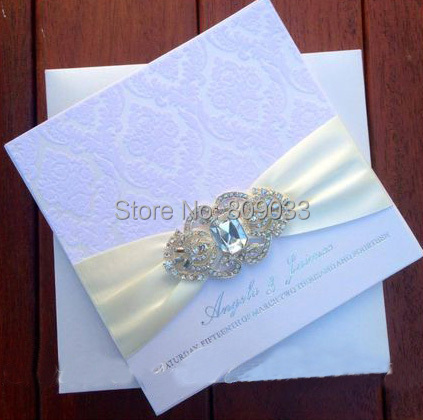 wedding pearl invitation with square goldheartinvitation shop heart vintage gold brooch ivory flat