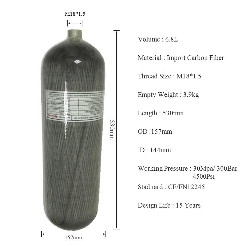 AC168 6.8l 4500psi Carbon Fiber Air Tanks For PCP Air Guns/High Pressure Composite Paintball Tank Underwater Gun For Shoot