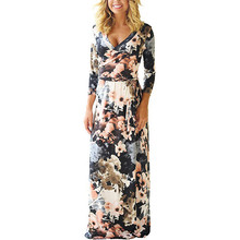 2019 New Women Sexy Long Summer Dress V-neck Vintage Print Maxi Dress Woman Beach Dress Vestidos Party Dresses Lady Black Flower black leaf print v neck maxi dress