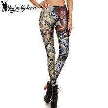 [You're My Secret] Retro Punk Style Steampunk Leggings Women Clock Gothic Workout Legging Feminina Mechanical Gear Fitness Pant