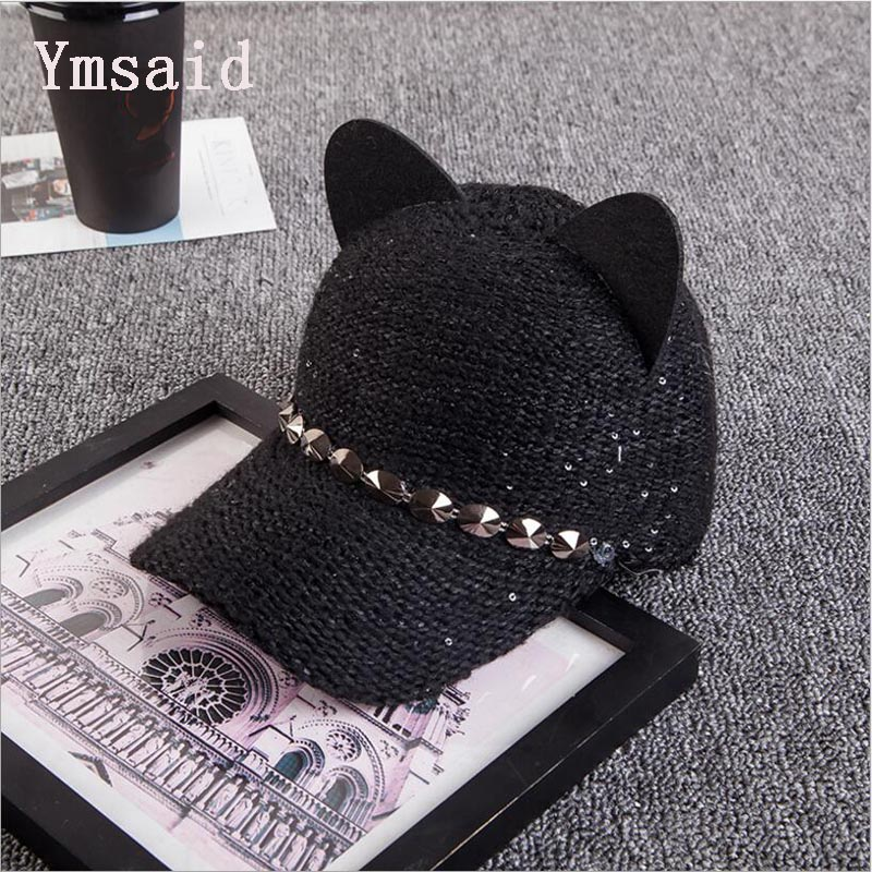 Ymsaid Fashion Bowknot Winter Baseball cap Women Cat Ear Pattern Sequin Baseball Cap Snapback Caps Hip Hop Hats Sun Cap 35colors silver gold soild india scarf cap warmer ear caps yoga hedging headwrap men and women beanies multicolor fold hat 1pc