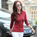 cotton polo button down shirts plain black polo shirt plain tops  polos femme polos femme  women long sleeve manga larga