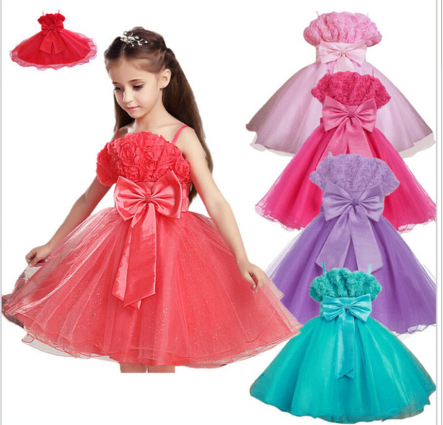 Little Girl summer flower bow princess party dress, toddler baby ...
