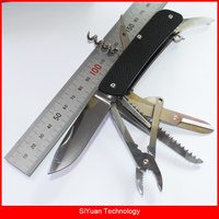 WA751 EDC Pocket Multitool Folding Knife with Plier Scissor Belt Cutter Glass Breaker for Camping Hunting Survival