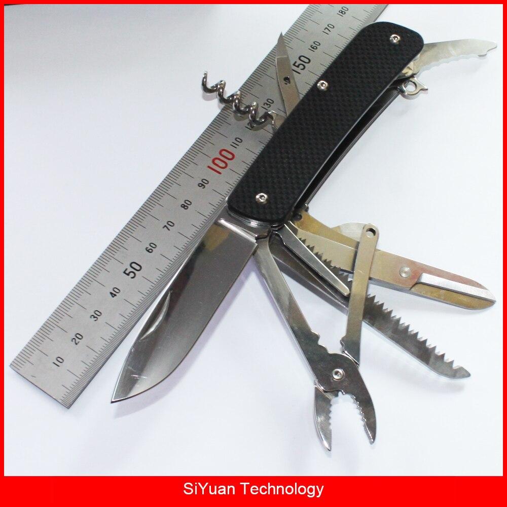 WA751 EDC couteau pliant Multitool de poche avec pince ciseaux coupe-ceinture coupe-verre pour Camping chasse survie