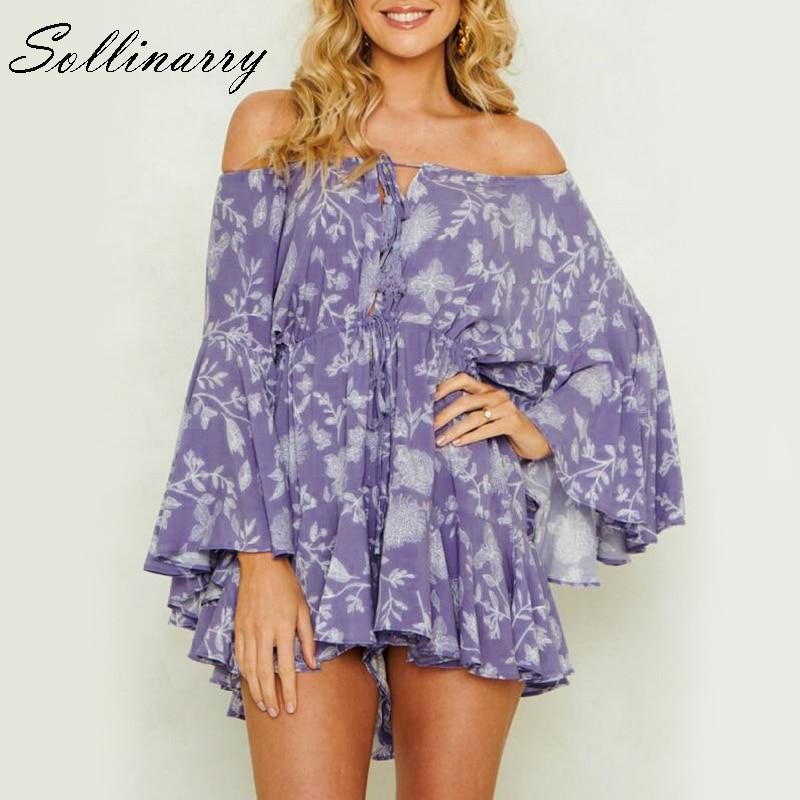 Sollinarry Bohemian Print Off Shoulder Women Playsuits Elegant Casual Flare Sleeve Feminino Beach Short Jumpsuit Rompers