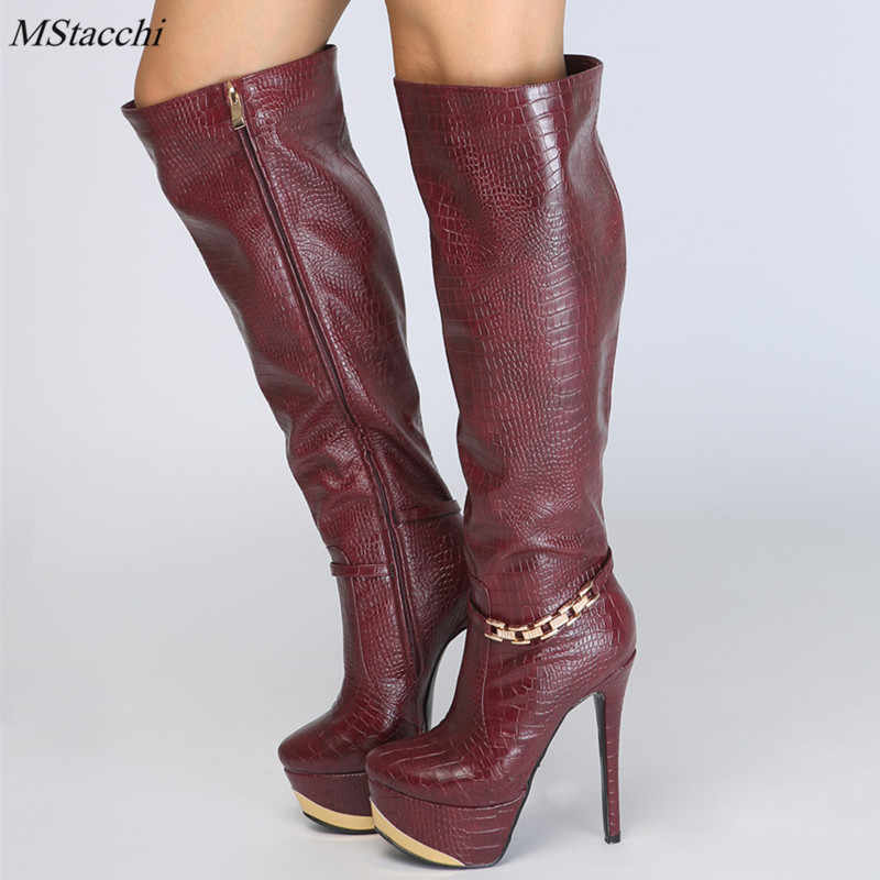 8fe7f6733e4f Mstacchi new fashion over the knee Boots high Platform boots sexy high  heels 14cm shoes woman