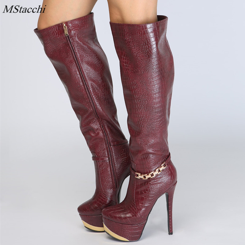 Mstacchi new fashion over the knee Boots high Platform boots sexy high heels 14cm shoes woman zipper Side boots big size 34-47