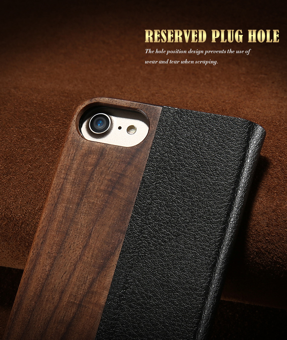 DOEES Real Wood Leather Case For iPhone 6 6S 7 7 Plus Cover Stand Holder Card Slot Vintage Cover For iPhone 6 7 Flip Wallet Case (4)