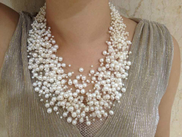 30 Layers Wedding Pearl Necklace Starriness Floating Freshwater Pearl Necklace Fashion Design Necklace For Women Jewelry Culture