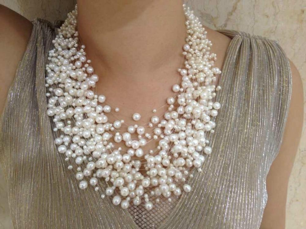30 couches collier de perles de mariage Starriness flottant collier de perles d'eau douce collier de conception de mode pour les femmes bijoux Culture