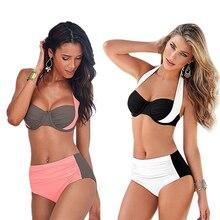 Brasileña caliente Patchwork Halter Atractivo de La Alta Cintura Mujeres del traje de Baño 2017 más el Tamaño XXL Bikini Set Empuja Hacia Arriba Traje de Baño traje de Baño femenino