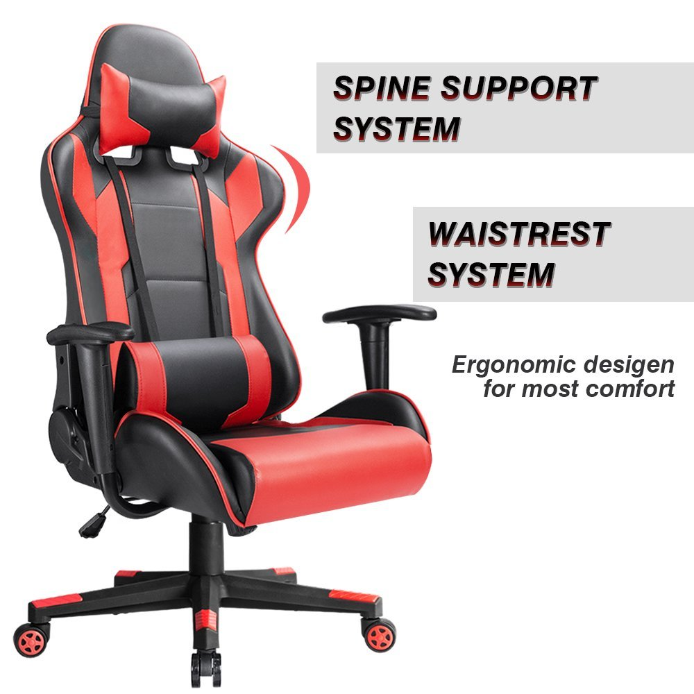 Homall Ergonomic Gaming Chair Racing Style Adjustable Height High Back  Computer Chair With Headrest And Lumbar Swivel Armchair  In Office Chairs  From ...