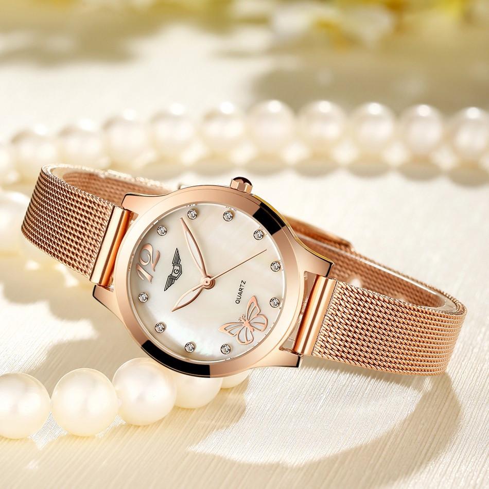GUANQIN Women Watches Fashion Casual Quartz Watch Gold Women Bracelet Watch Stainless Steel Strap relogio feminino famous brand  (6)