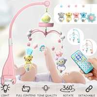 Newborn Baby Toys 0 24 Months Crib Animal Rattles Projection Cartoon With Mobile Musical Bed Bell Early Learning Kids Toy