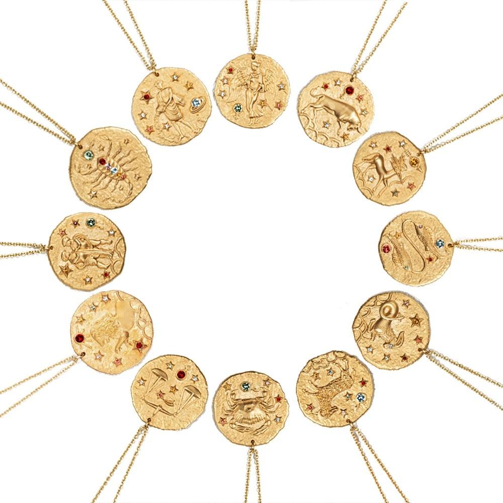 Vercret Colar de Prata Esterlina 925 Constelação Do Zodíaco Pingente de Ouro Colar de Jóias Para As Mulheres Presente