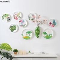 OUSSIRRO Vase Wall Decorations Ceramic Wall Plate Flamingo Restaurant Cafe Bar Wall Decoration W2856