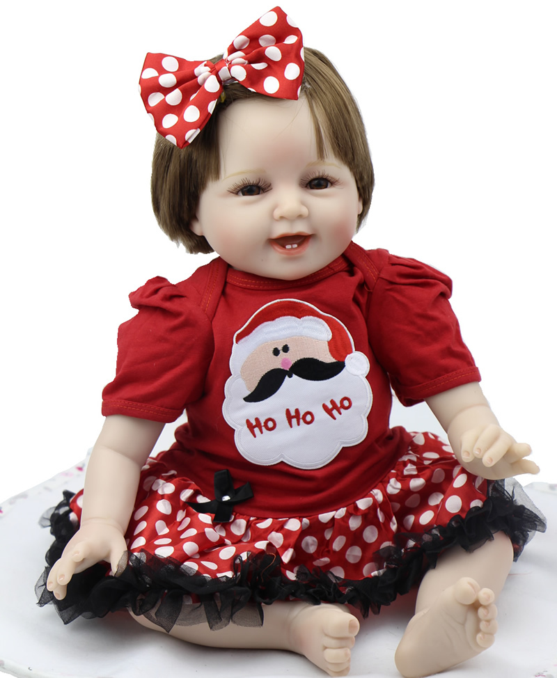 Фото Smiling 22 Inch Baby Reborn Girl Wearing Cute Dress Silicone Handmade Babies Newborn Kids Birthday Xmas Gift. Купить в РФ