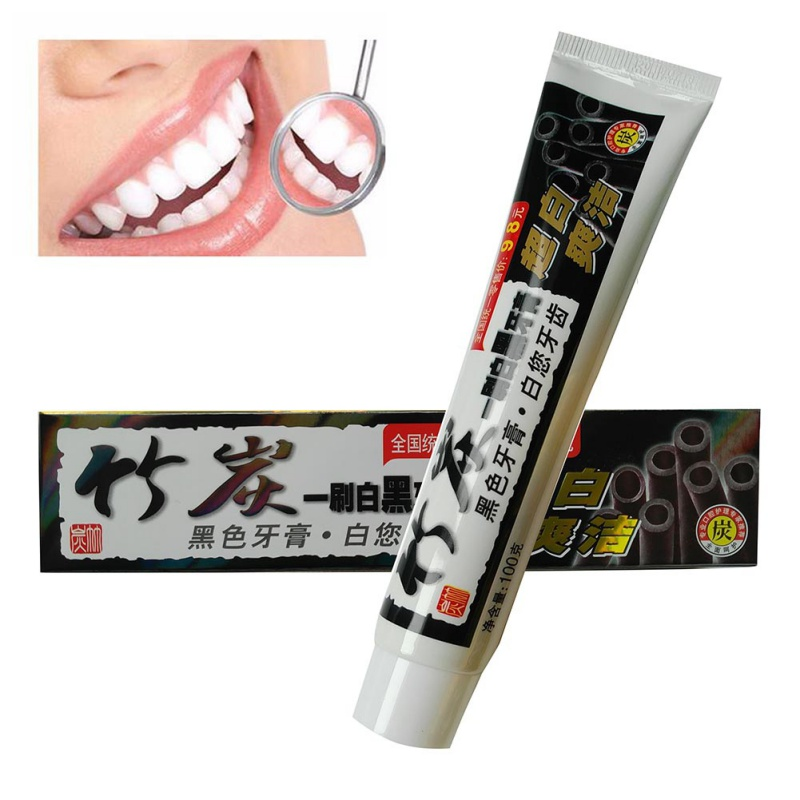 100g De Clareamento Dos Dentes Creme Dental De Bambu Preto Carvao