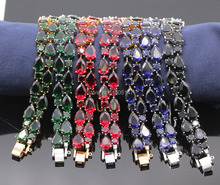 GZJY Fashion Simple multicolor bracelet gold color crystal cuff bracelet bangles for women wedding party jewelry 7colors