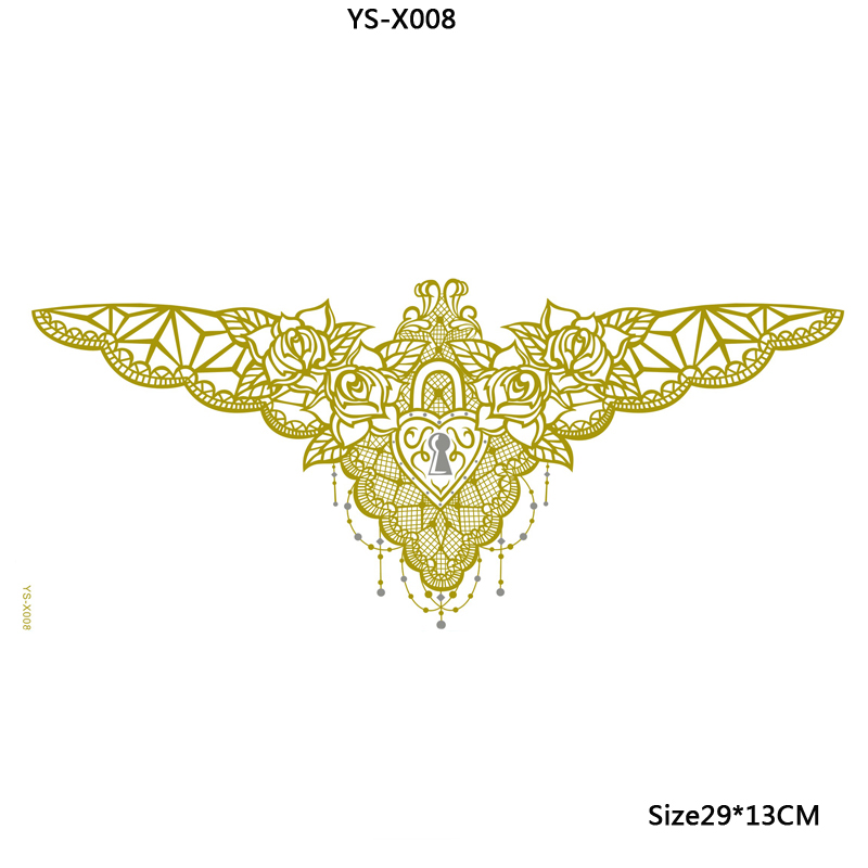 Chest Piece Tattoo Prices: YS X008 Golden Lace Temporary Tattoos Sexy Chest Tattoo