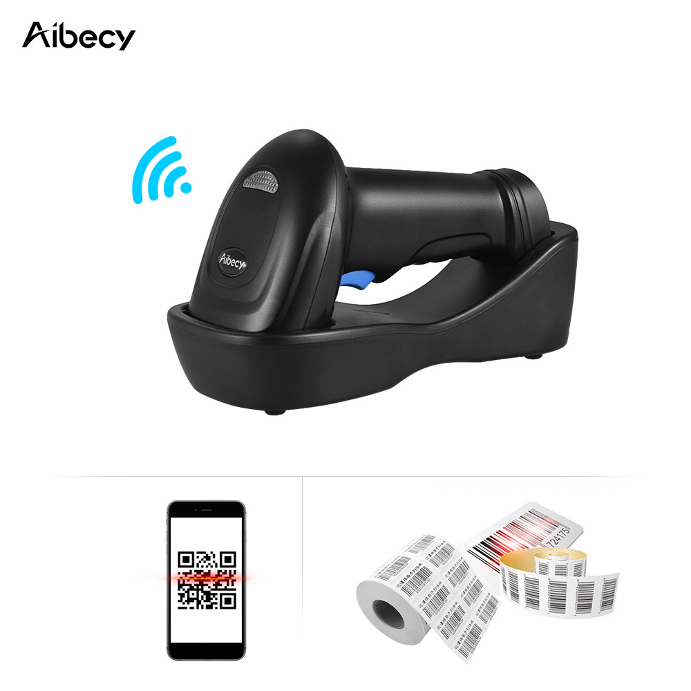 Aibecy Barcode Scanner Barcode Reader 433MHz Wireless 1D 2D Auto Image Barcode Scanner Handheld QR code PDF417 Bar Code Reader 433mhz wireless ccd barcode scanner portable barcode reader bar gun with base charger and receiver in one with storage function