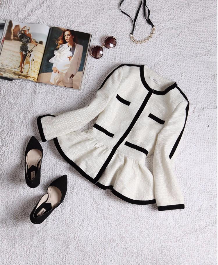 High-end Black White Patchwork Ruffle Decoration Blazer and Short Pants Women Suits Autumn 2015 (4)