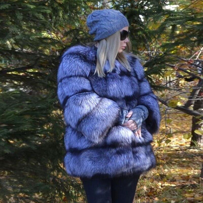 Vraie Survêtement Femelle De Renard 177 Épaisse Naturel D'hiver Femmes Fox cou Mode Réel O Fourrure Pour Veste Sliver Avec Lady Fc Chaud Manteau wZPkTiOuX