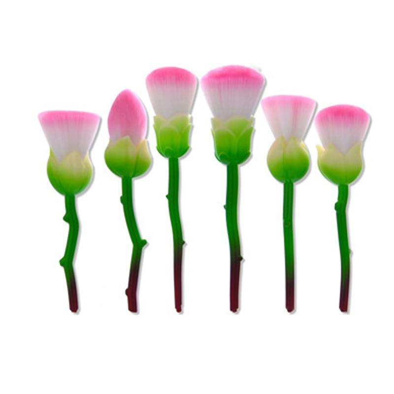 New 6pcs Rose Shape Makeup Brushes Gold pink green Foundation Powder Make Up flower Brushes Set Beauty Blush Brush