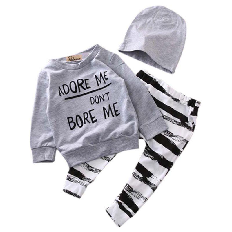 Hot Sale Newborn Baby Baby Girls Dress Long Sleeve Hooded Shirt Tops + Floral Pants +Cute Cap Outfits 3 Pcs