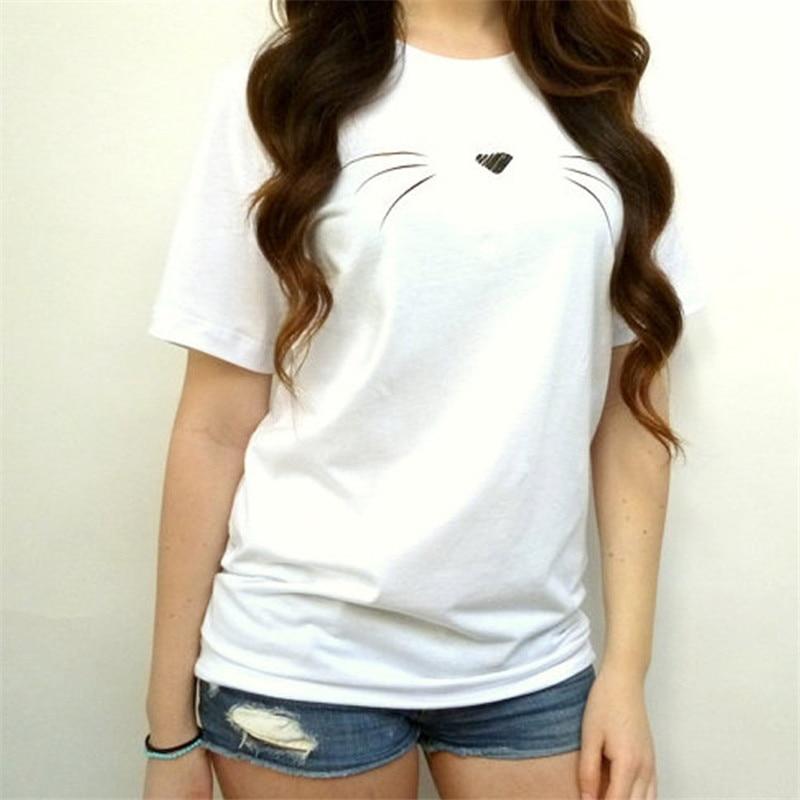 2018 Summer Harajuku T-shirt Women Casual Cotton Lady Top Tees Tshirt Female Clothing T Shirt Cat Printed Cute Tee Shirt Femme 1