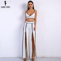 Missord 2018 Women Sexy Off Shoulder Two Pieces Set High Split White Jumpsuit FT9102