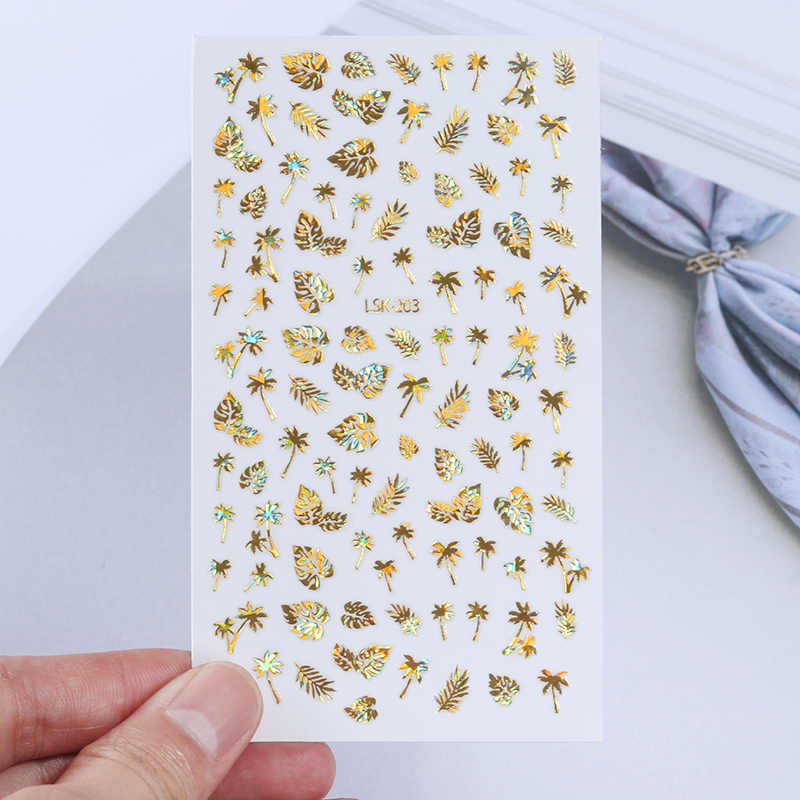 1Pc Holographic Coconut Tree Leaf Laser Holographic Gold 3D Nail Sticker Adhesive Decal Sticker Manicure Nail Art Decoration