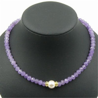 Vintage Classic Natural Stone Jewelry Noble Elegant Amethysts Beaded Chain Strand necklace with Shell Pearl