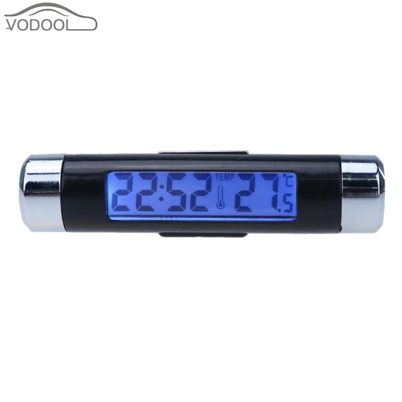 Mini Car <font><b>Clock</b></font> Thermometer Automobiles Interior AC Vent <font><b>Suction</b></font> <font><b>Cup</b></font> Mount Led Backlight <font><b>Digital</b></font> Display Temperature Meter Gauge