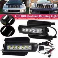 Car Led Drl for Toyota Prado 120 LC120 GRJ120 2003~2009 Daytime Running Light Front Bumper Driving Fog Lamp Daylight Headlight