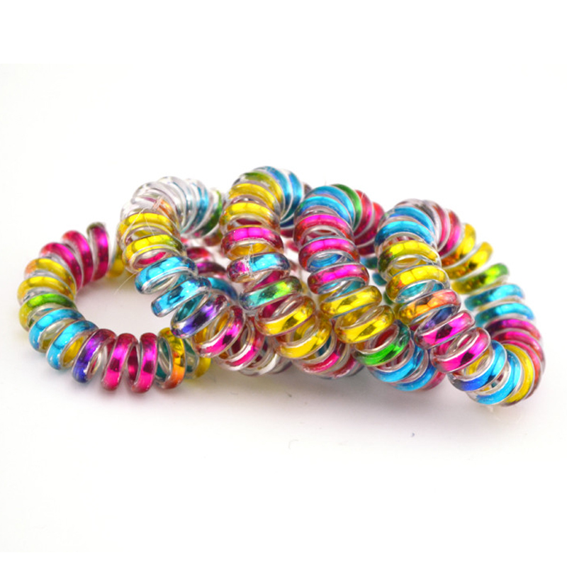 Wholesale 100 Pcs Colorful Telephone Wire Cord Line Gum Holder Elastic Hair Band Tie Scrunchy 3.5cm Hair Accessory